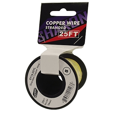 Shaxon 25' Stranded Copper 14 AWG Wire On Spool, Yellow