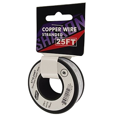 Shaxon 25' Stranded Copper 18 AWG Wire On Spool, White
