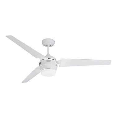 Emerson Fans 60'' 4th Avenue 3 Blade Ceiling Fan; Satin White with Brushed Steel Blades