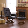 Wildon Home   Shaw Leather Ergonomic Recliner and Ottoman