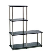 "Convenience Concepts 41.75"" Wood & Stainless Steel Bookcase"