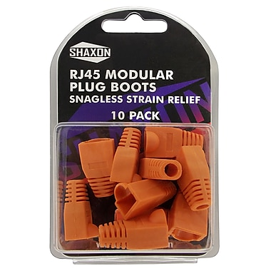 Shaxon Snagless Molded Look Strain Relief Boot For RJ45 Plug, Orange, 10/Pack
