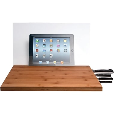 CTA Digital Bamboo Cutting Board with Screen Shield & Knife Storage for iPad and Tablets