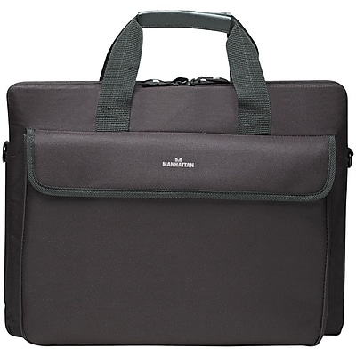 Manhattan London Top Loading Briefcase For Up to 15.6 Notebook Computer, Black