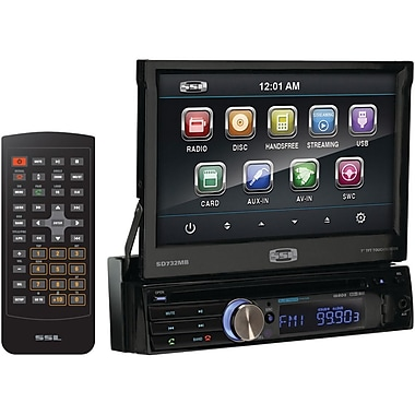 SSL SD732M 7in. Single Din Motorized Flip-Out Touchscreen Multimedia Receiver With Bluetooth