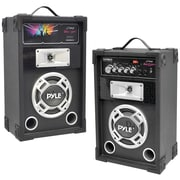 Pyle® Pro PSUFM625 Dual 600 W Disco Jam Powered Two-Way PA Speaker System With Aux In, Black