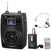 Pyle® Pro PWMA80UFM 100 W Portable PA System With Wireless Lavalier Mic & Auxillary Jack, Black