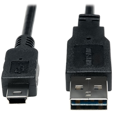 Tripp Lite 3' USB 2.0 Type A Male Reversible Device Cable, Black
