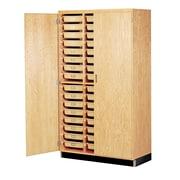 "DWI Epoxy, Oak Wood Tote Tray Storage Cabinet 84""H x 48""W x 22""D"
