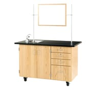 "DWI Oak Wood Demonstration Center with Sink and Fixtures 36""H x 54""W x 30""D"
