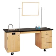 "DWI Oak Wood ADA Compatible Mobile Lab Station 33""H x 72""W x 24""D"