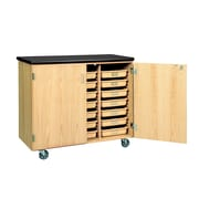 DWI Mobile Tote Tray  Laminate, Oak Wood Storage Cabinet