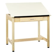 DWI Drafting Table 30H x 36W x 24D Solid Maple