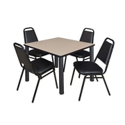 "Regency Seating Black Kee 36"" Square Table- Beige w/ 4 Resturant Stack Chairs"