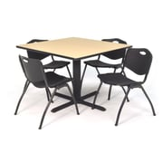 Regency Seating Cain 3o Square Table- Beige w/ 4 'M' Stack Chairs- Black