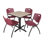 "Regency Seating Cain 3o"" Square Table- Beige w/ 4 'M' Stack Chairs- Burgundy"