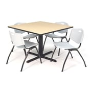 Regency Seating Cain 3o Square Table- Beige w/ 4 'M' Stack Chairs- Grey