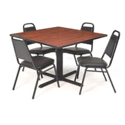 "Regency Seating Black Kee 36"" Square Table- Cherry w/ 4 Resturant Stack Chairs"