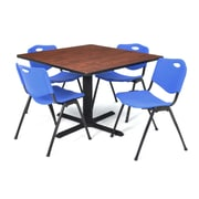 "Regency Seating Cain 3o"" Square Table- Cherry w/ 4 'M' Stack Chairs- Blue"