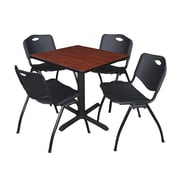 Regency Seating Cain 3o Square Table- Cherry w/ 4 'M' Stack Chairs- Black
