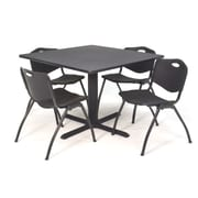 Regency Seating Cain 3o Square Table- Grey w/ 4 'M' Stack Chairs- Black