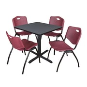 Regency Seating Cain 3o Square Table- Grey w/ 4 'M' Stack Chairs- Burgundy