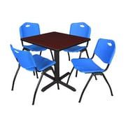 Regency Seating Cain 3o Square Table- Mahogany w/ 4 'M' Stack Chairs- Blue