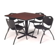 "Regency Seating Cain 3o"" Square Table- Mahogany w/ 4 'M' Stack Chairs- Black"