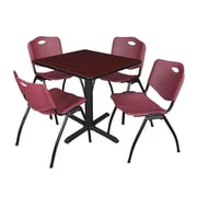 Regency Seating Cain 3o Square Table- Mahogany w/ 4 'M' Stack Chairs- Burgundy