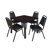 "Regency Seating Black Kee 36""L Square Table with 4 Restaurant-Stack Chairs, Mocha Walnut"