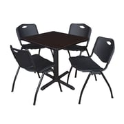 "Regency Seating Cain 3o"" Square Table- Mocha Walnut w/ 4 'M' Stack Chairs- Black"