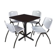 "Regency Seating Cain 3o"" Square Table- Mocha Walnut w/ 4 'M' Stack Chairs- Grey"