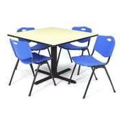 "Regency Seating Cain 3o"" Square Table- Maple w/ 4 'M' Stack Chairs- Blue"
