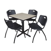 """Regency Seating Cain 3o"""" Square Table- Maple w/ 4 'M' Stack Chairs- Black"""