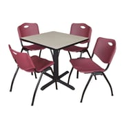 Regency Seating Cain 3o Square Table- Maple w/ 4 'M' Stack Chairs- Burgundy
