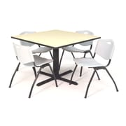"Regency Seating Cain 3o"" Square Table- Maple w/ 4 'M' Stack Chairs- Grey"