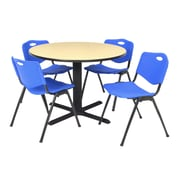 "Regency Seating Cain 3o"" Round Table- Beige w/ 4 'M' Stack Chairs- Blue"