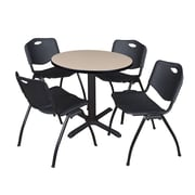 "Regency Seating Cain 3o"" Round Table- Beige w/ 4 'M' Stack Chairs- Black"
