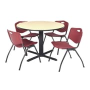 Regency Seating Cain 3o Round Table- Beige w/ 4 'M' Stack Chairs- Burgundy
