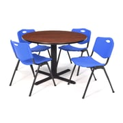 "Regency Seating Cain 3o"" Round Table- Cherry w/ 4 'M' Stack Chairs- Blue"