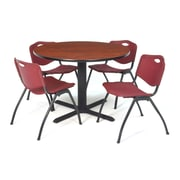"Regency Seating Cain 3o"" Round Table- Cherry w/ 4 'M' Stack Chairs- Burgundy"