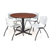 "Regency Seating Cain 3o"" Round Table- Cherry w/ 4 'M' Stack Chairs- Grey"