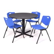 Regency Seating Cain 3o Round Table- Grey w/ 4 'M' Stack Chairs- Blue