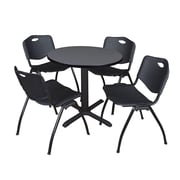 "Regency Seating Cain 3o"" Round Table- Grey w/ 4 'M' Stack Chairs- Black"