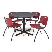 "Regency Seating Cain 3o"" Round Table- Grey w/ 4 'M' Stack Chairs- Burgundy"