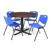 Regency Seating Cain 3o Round Table- Mahogany w/ 4 'M' Stack Chairs- Blue
