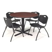 Regency Seating Cain 3o Round Table- Mahogany w/ 4 'M' Stack Chairs- Black