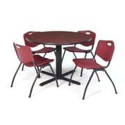 Regency Seating Cain 3o Round Table- Mahogany w/ 4 'M' Stack Chairs- Burgundy