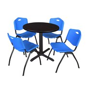 "Regency Seating Cain 3o"" Round Table- Mocha Walnut w/ 4 'M' Stack Chairs- Blue"