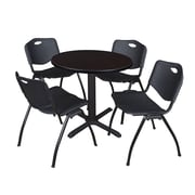 "Regency Seating Cain 3o"" Round Table- Mocha Walnut w/ 4 'M' Stack Chairs- Black"